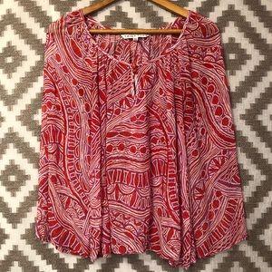 Trina Turk Red Pink Silk Long Sleeve Tunic Blouse